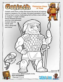 Goliath from the Bible Colouring in Sheet