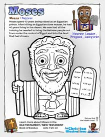 Moses from the Bible Colouring in Sheet