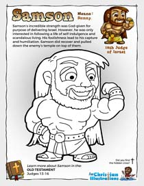 Samson from the Bible Colouring in Sheet